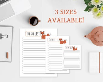 To Do List Notepad - Red Fox To Do List - 3 Sizes Available - Free US Shipping - To Do List Notepad - Fox Notepad - To Do Notepad