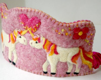 Double Unicorn Birthday Crown: Custom Made Felted Wool Party Crown (You Choose Colours) Natural Birthday Hat, Waldorf Inspired