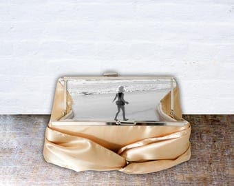 Personalized Gold Satin Photo Clutch with Metal Clasp for Bride or Bridesmaid