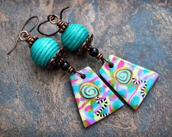Colorful and Fun Artisan made earrings. Colorful boho earrings. Funky and lightweight. Handmade beads, antiqued solid copper.