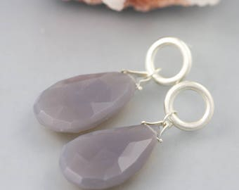 Gemstone Drop Earrings in Sterling Silver with Faceted Teardrop Gray Chalcedony - Long Grey Dangle Circle Post Stone Earrings READY TO SHIP