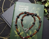 Amber and Real, Organic, Lignite Jet Witches Necklace with Twin Ravens Pendant - Pagan, Wicca, Ritual, Magic