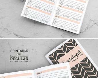 Printable Appointment Tracker Traveler's Notebook Inserts, MTN Appointment Tracker, Printable Midori Appointment Tracker inserts, PDF file