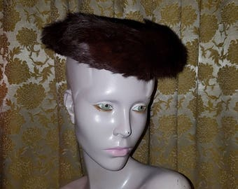 Vintage Brown Mink Fur Hat 1940's 1950's Fashion