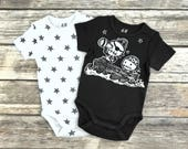 Set of 2 Grey Zombie Pirates & Stars Short Sleeve Rompers by Ranocky