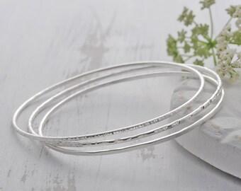 Silver Stacking Bangles - Skinny Bangles - Set of Bangles - Sterling Silver Bangles -Thin Bangles