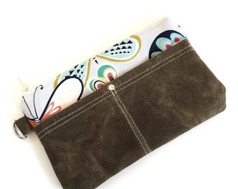 Clutch No. 1 in Lavender Butterflies and Dark Brown Waxed Canvas