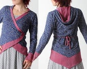 Floral hooded jersey jacket, Blue and sparkly pink wrap jersey cardigan, Womens clothing, MALAM, size UK 14