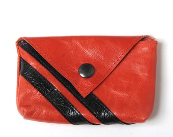 "Small red leather coin purse, Red varnished leather coin pouch with black stripes, Red and black leather purse, MALAM, 10. x 7 cm (4x2.7"")"