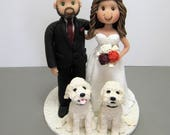 Reserved for Kellie  balance due for a custom Wedding Cake Topper with dogs
