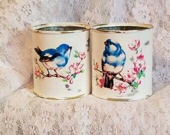 blue bird,shabby chic tin,cottage white,pink wild rose,shabby chic decor,upcycled tin can,vase,storage craft holder,sewing room,beach decor