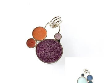 Small Bubble Cluster Pendant Silver and Resin Double Sided Reversible Colorful Blue Purple