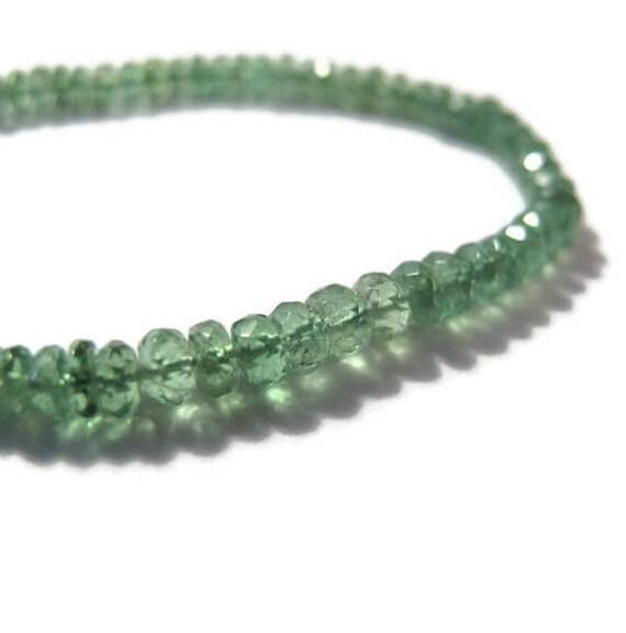 7.5 Inch Strand of Glowing Green Tsavorite Rondelles, Natural Gemstone Beads, 2.5-3.5mm, Jewelry Supplies (R-Tsa3f)