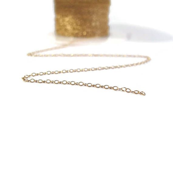 Thin Gold Chain, 14k Gold Filled Smooth Cable Chain, By The Foot, 1.2mm Small Gold Jewelry Chain for Necklaces (1020f)