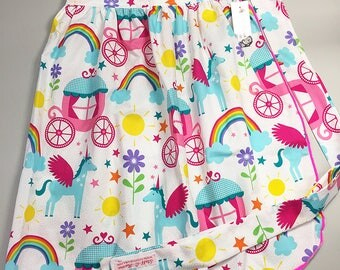 Half Apron - Vintage Pin Up Skirt Style - Unicorns and Rainbows