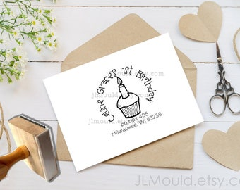0001 JLMould Happy Birthday Custom Personalized Rubber Stamp - Your Wording/Date, etc. Cake candle 1st Birthday 16th Birthday Stamper