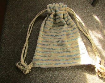 Large Drawstring Knit Bag, Light Brown and Multi-colored
