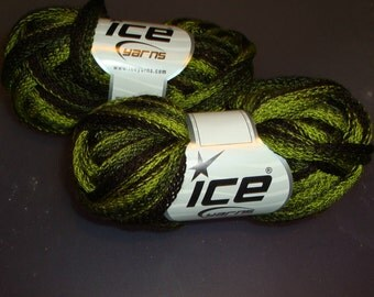 Ice Scarf Yarn/Green with dark brown trim /Stash Busting / DeStash