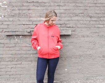 1980's Red Member's Only Crew Jacket in Medium Size 40 80s Men's Fashion Style Hipster Fall Autumn Winter Coat Sale