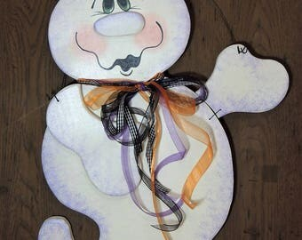 Original Design Ghost Door Hanger, Halloween Cheerful Whimsical Ghost Wall Hanger