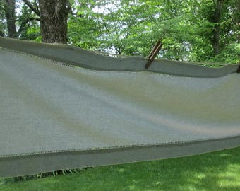 Long Vintage Table Runner - Soft Dusty Aqua Linen Blend - Made in India