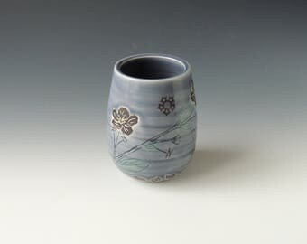 Ceramic Cherry Blossom Cocktail Cup - purple gray porcelain clay wine tumbler with flowers and wifi decals - handmade wheel thrown pottery