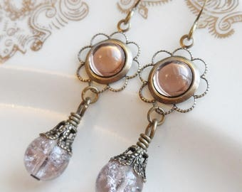 75% Off Clearance Sale, Light Amethyst , Vintage Glass Cameo, Antique Brass Finish