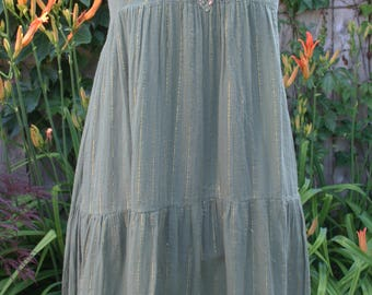 Olive green hippie India gauze gold thread sun dress beaded front small