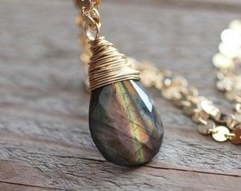Striped Flashy Labradorite. Dark Rainbow Lab Gold Necklace. Circle Sparkly Chain. Long Pendant Necklace