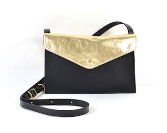 Evette - Handmade Black & Gold Leather Shoulder Bag Purse SS18
