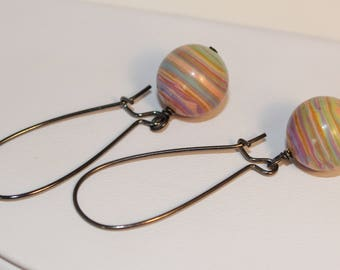 Pastel Planet Earrings Hey Jupiter Long Hooks Colorful Rainbow Ready To Ship Shimmer Shimmer