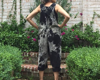 Pleated and Gathered Marble Bib Rompers One Size Plus - Women's loose Overalls, cropped leg romper, black and white bib jumper, baggy bibs
