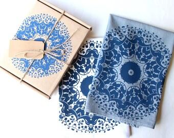 Mandala Tea Towel Gift Set of 2 with matching gift box - Set of 2 Tea Towels - Blue and White Tea Towels - Boho Kitchen Decor