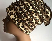 Leopard Cotton Knit Slouchy Hat Womens Gift