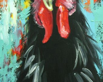 Rooster 872 12x24 inch animal portrait original oil painting by Roz