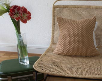 Strikk Hand Knit Pebble Stitch Cushion in Wheat