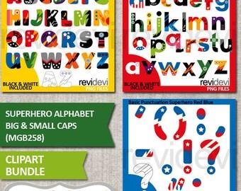Superhero clip art / alphabet clipart / Superhero Alphabet Big and Small Caps bundle / Uppercase, lowercase, punctuation / commercial use