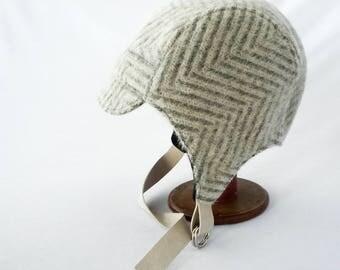 Aviator Hat, Fuzzy Wool, Cream and Gray, Herringbone Wool, Womens Hat, Winter Hat, Warm Hat, Winter Cycling, Gift for Her, Retro Hat, Fun