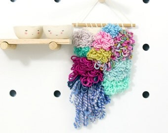 beebop    .. wall hanging, weave, woven, wall art, wall decor, nursery art decor, home, living wall art,
