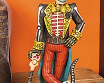 Vintage Day of the Dead Skeleton Man Statue