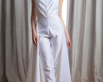 Vivian Pleated Sweetheart Strapless Bridal Jumpsuit