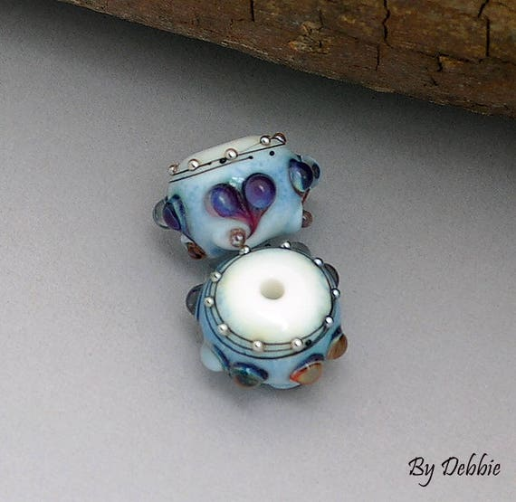 Lampwork Beads Heart Beads Glass Beads For Earrings Beads For Jewelry Supplies Bead Pair Handmade Beads For Bracelet Debbie Sanders