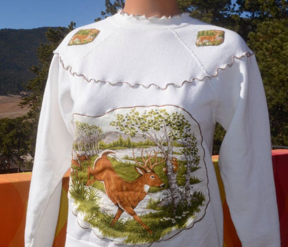 vintage 80s sweatshirt DEER applique hunting nature ruffle yoke wtf Small western