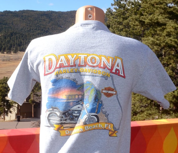 vintage harley davidson t-shirt DAYTONA biker motorcycle henley pocket tee Medium Small