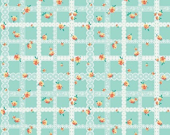 Teal Bunnies Lace - Bunnies & Blossoms collection by Lauren Nash for Penny Rose Fabrics - 100% cotton quilting fabric by the yard