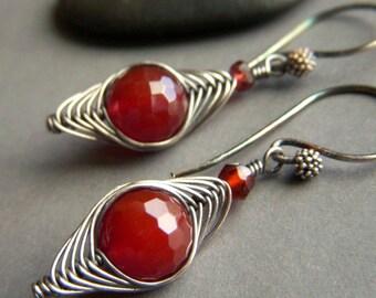 Herringbone Weave Earrings Oxidized Sterling Silver . Carnelian Wirewrapped Woven Earrings Rust Gemstone Rustic . Carnelian Weave Earrings