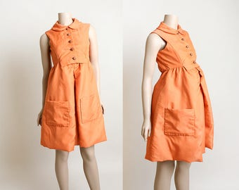 Vintage 1960s Maternity Dress - Creamsicle Orange Pleat Dress with Wood Buttons and Large Pockets - Adjustable Waist - Small Medium