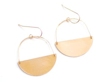 Half Moon Earrings | Half Circle Earrings | Minimalist Earrings | Geometric Earrings | Gold Drop Earrings | Brass Earrings | Sterling Silver