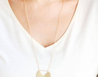 Long Minimalist Geometric Circle Necklace - Brass | 14k Gold Filled | Sterling Silver