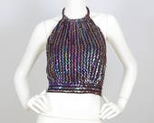 1970's Vintage Ultimate Glam Rock Iridescent Sequin Brown Halter Top Sz XS